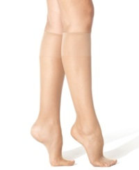Hanes Silk Reflections Knee Highs Sheers Barely Black