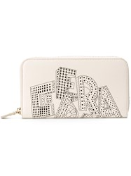 Salvatore Ferragamo Laser Cut Logo Wallet White