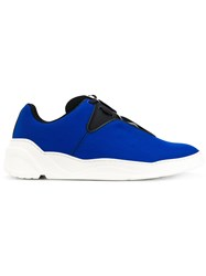 Christian Dior Homme Ridged Sole Sneakers Cotton Leather Rubber Blue