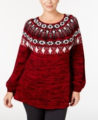 Styleandco. Style Co. Plus Size Space Dyed Fair Isle Sweater Only At Macy's New Red Amore Combo
