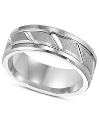 Triton Men's White Tungsten Carbide Ring 8Mm Diamond Cut Wedding Band