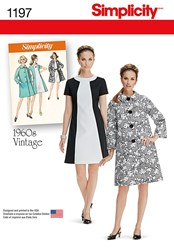 Simplicity 1960S Vintage Women's Dress And Coat Sewing Pattern 1197