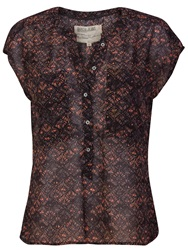 Garcia Short Sleeves Printed Top Brown