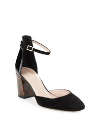 Kate Spade Opal Round Toe D Orsay Suede And Patent Leather Pumps Black