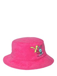 Natasha Zinko Cotton Bucket Hat W Terry Cloth Patch Fuchsia
