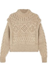 Isabel Marant Milane Cropped Cable Knit Merino Wool Sweater Neutral