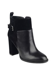 Nine West Quinah Leather And Suede Booties Black
