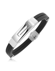 Forzieri Men's Rubber And Stainless Steel Bracelet Silver