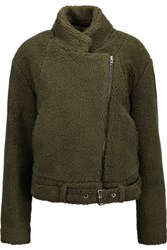 Maison Martin Margiela Mm6 Faux Shearling Jacket Army Green