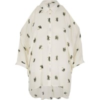 River Island Womens Brown Bird Print Cold Shoulder Shirt