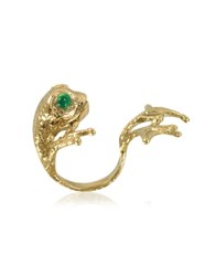 Bernard Delettrez Bronze Frog Ring W Big Paws Gold