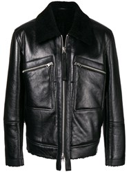 Tom Ford Shearling Collar Leather Jacket Black