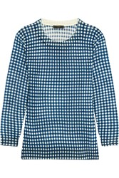 J.Crew Tippi Gingham Merino Wool Sweater Blue