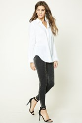 Forever 21 Glitter Knit Leggings Black Silver