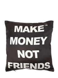Make Money Not Friends Logo Printed Cotton Pillow Black