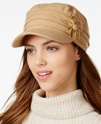 Collection Xiix Studded Flower Military Cap Brown Sugar