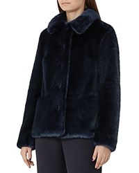 Reiss Alexia Faux Fur Coat Ink