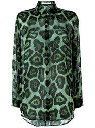 Givenchy Sheer Leopard Print Blouse Green
