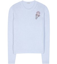 Miu Miu Embellished Cashmere Sweater Blue