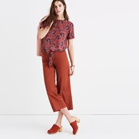 Madewell Silk Button Back Tie Tee In Assam Floral Blockprint Antique Rose
