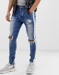 Sixth June Super Skinny Jeans In Light Wash With Side Taping Blue