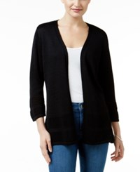 Jm Collection Open Knit Cardigan Only At Macy's Deep Black
