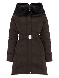 Dawn Levy Down Jacket With Detachable Faux Fur Hood Brown
