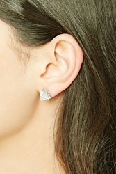 Forever 21 Triangle Rhinestone Studs Silver Clear