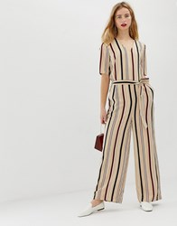 Selected Femme Stripe Jumpsuit With Wide Leg Multi