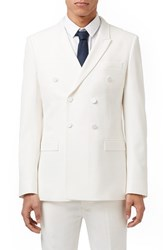 Men's Topman Skinny Fit White Double Breasted Tuxedo Jacket