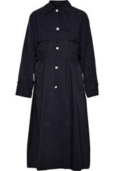 Adam By Adam Lippes Embellished Satin Trimmed Cotton Blend Moire Trench Coat Navy