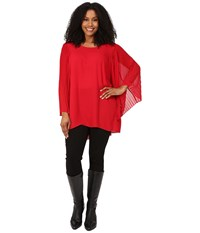 Vince Camuto Plus Size Pleated Bell Sleeve High Low Hem Blouse Crimson Women's Blouse Red