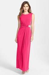 Women's Ellen Tracy Embellished Waist Back Drape Jersey Gown Rose