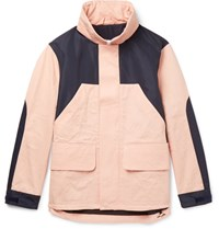 Acne Studios Panelled Shell And Cotton Twill Hooded Jacket Pink