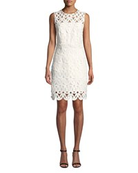 Milly Sienna Embroidered Scallop Lace Dress Ivory