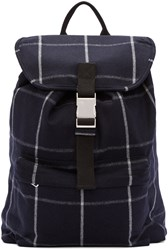 A.P.C. Navy Wool Plaid Snap Buckle Backpack