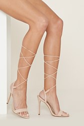 Forever 21 Lace Up Faux Suede Stilettos