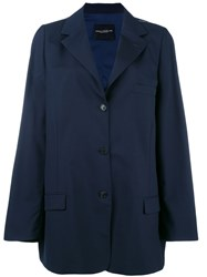 Erika Cavallini Buttoned Blazer Coat Women Polyester Spandex Elastane Wool One Size Blue