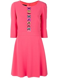 Boutique Moschino Bow Embroidered Flared Dress Women Polyester Acetate Triacetate 40 Pink Purple