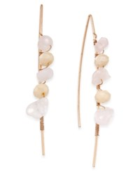 Macy's Inspired Life Multi Stone Wrapped Wire Threader Earrings Pink