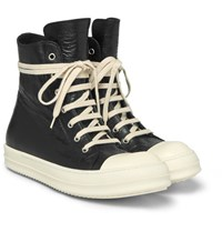Rick Owens Cap Toe Leather High Top Sneakers Black