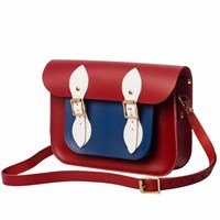 N'damus London Red And Blue 11 Inches Leather Mini Pocket Satchel