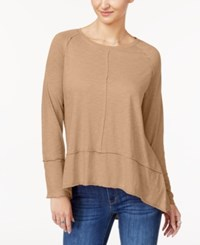 Style And Co Cotton High Low Top Created For Macy's Natural Blush