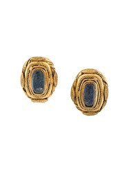 Chanel Vintage Embellished Baroque Clip On Earrings Blue