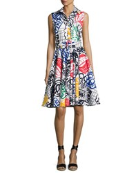 Samantha Sung Gigi Graffiti Print Belted Shirtdress Multi Pattern