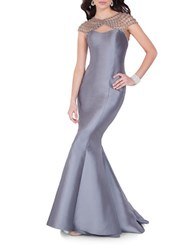 Glamour By Terani Couture Beaded Mermaid Gown Steel Nude