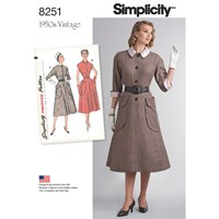 Simplicity Vintage Women's 1950S One Piece Dresses Sewing Pattern 8251