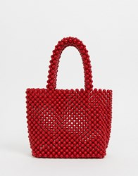New Look Beaded Mini Tote In Red