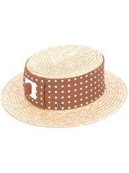 Kreisi Couture Polka Dot Panel Hat Women Straw 57 Nude Neutrals