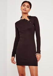 Missguided Rib Button Up Shoulder Bodycon Dress Black
